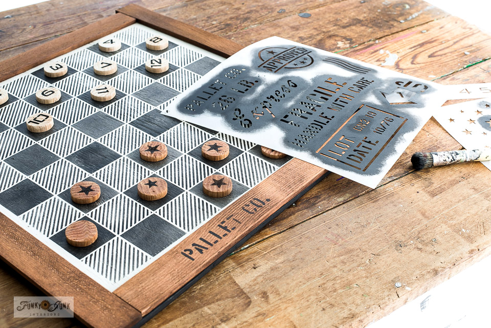 Learn how to make this DIY Buffalo Check checkers game with wood scraps and stencils! So easy to customize and works so good! Featuring Funky Junk's Old Sign Stencils. Click for full tutorial AND video!
