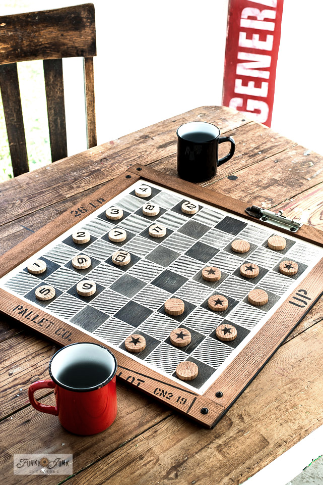 Learn how to stencil this Buffalo Check checkers board with scrap wood checkers!
