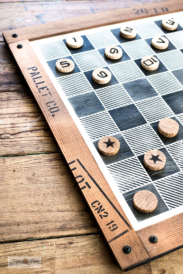 Learn how to make and customize this DIY Buffalo Check checkers game with wood scraps and stencils! So easy to customize and works so good! Featuring Funky Junk's Old Sign Stencils. Click for full tutorial AND video!