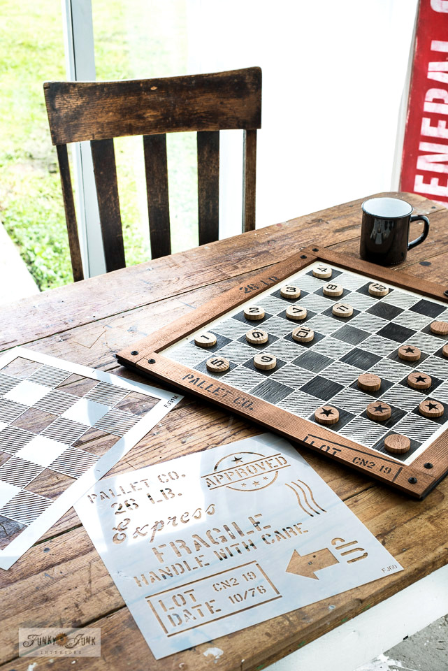 Rustic Buffalo Check Checkers board game by Funky Junk Interiors