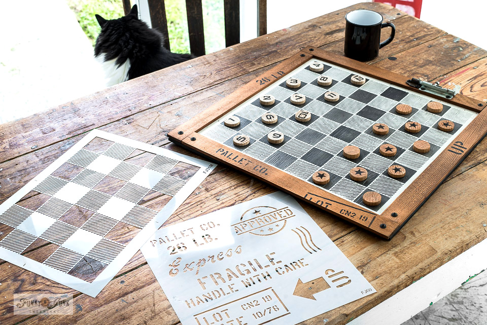 Learn how to make this stylish Buffalo Check checkers game with a stencil and closet dowel! Click for full tutorial plus video. #checkers #stencils #reclaimedwood #upcycle #buffalocheck #buffaloplaid