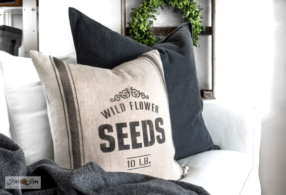 Wild Flower Seeds grain sack striped pillow stencils-001