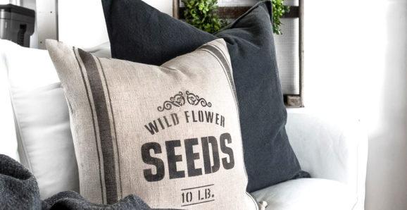 Wild Flower Seeds grain sack striped pillow stencils-001