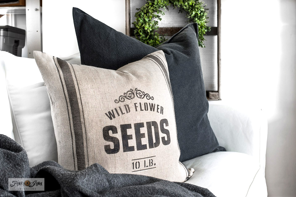 Learn how to stencil this Wild Flower Seeds grain sack striped pillow