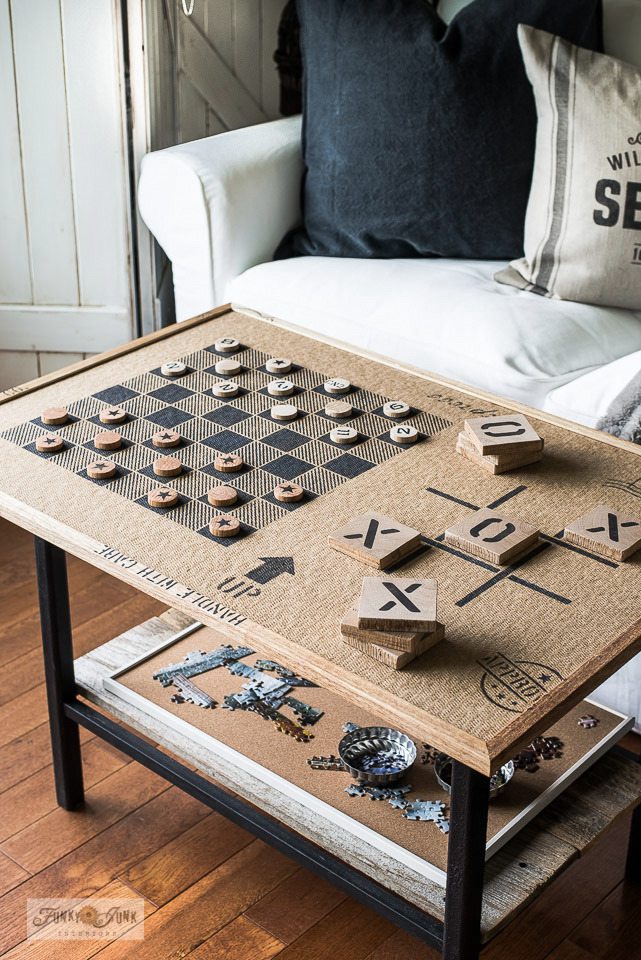 Learn how to DIY this gameboard and puzzle board with a bulletin board, scrap wood and stencils! Click for full tutorial plus video! #checkers #tictactoe #puzzles #stencils #oldsignstencils