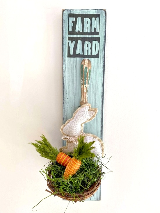 Vintage ladle Easter bunny basket by Homeroad, featured on DIY Salvaged Junk Projects 513 on Funky Junk!