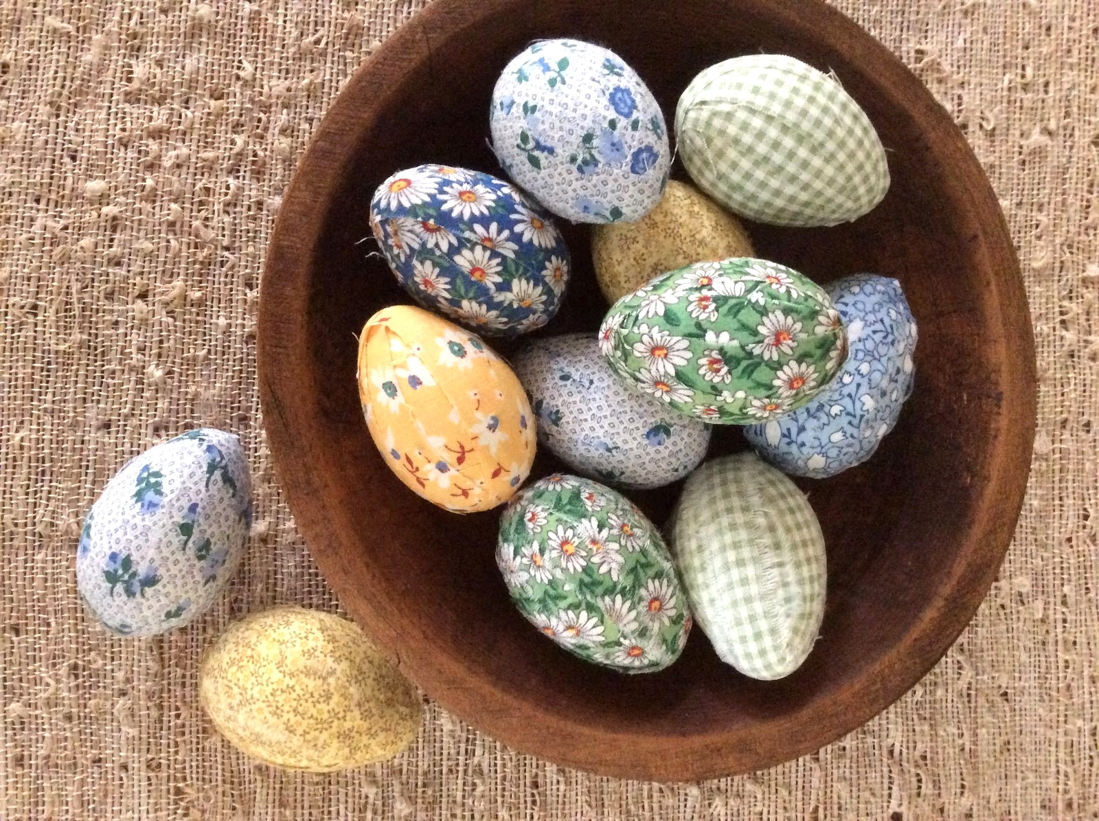 Fabric-wrapped Easter eggs by Fresh Vintage by Lisa S, featured on DIY Salvaged Junk Projects 513 on Funky Junk!
