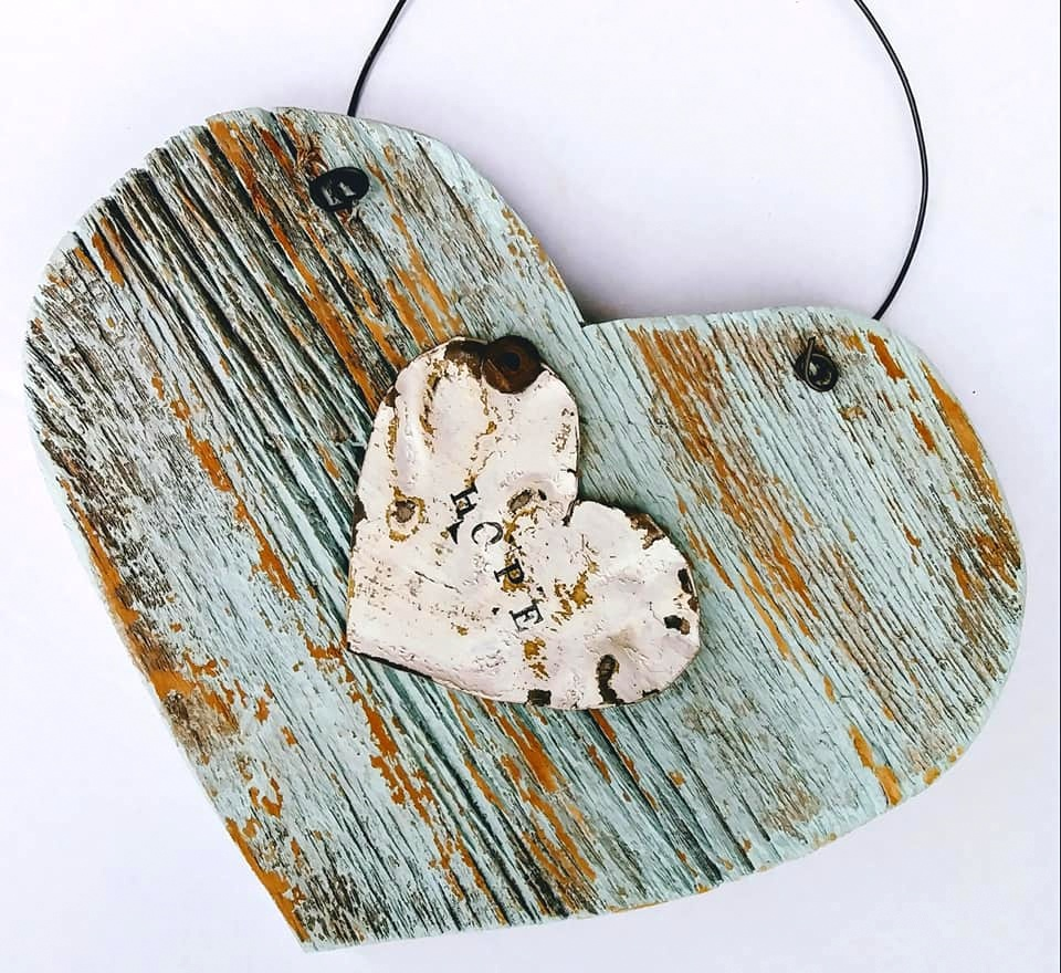 Reclaimed wood hearts by Junky Encores on Facebook, featured on DIY Salvaged Junk Projects 522 on Funky Junk!