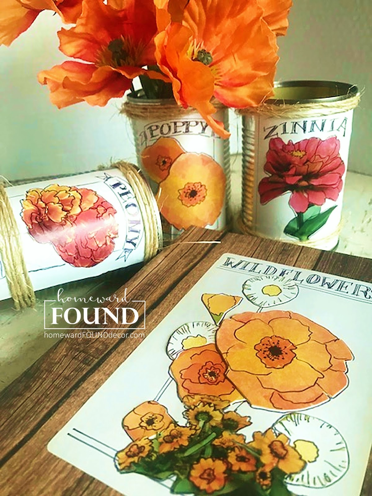 Seed packet art by Homeward Found, featured on DIY Salvaged Junk Projects 524 on Funky Junk!