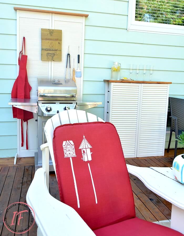 Bifold door dryer vent cover and BBQ station by Interior Frugalista, featured on DIY Salvaged Junk Projects 527 on Funky Junk!