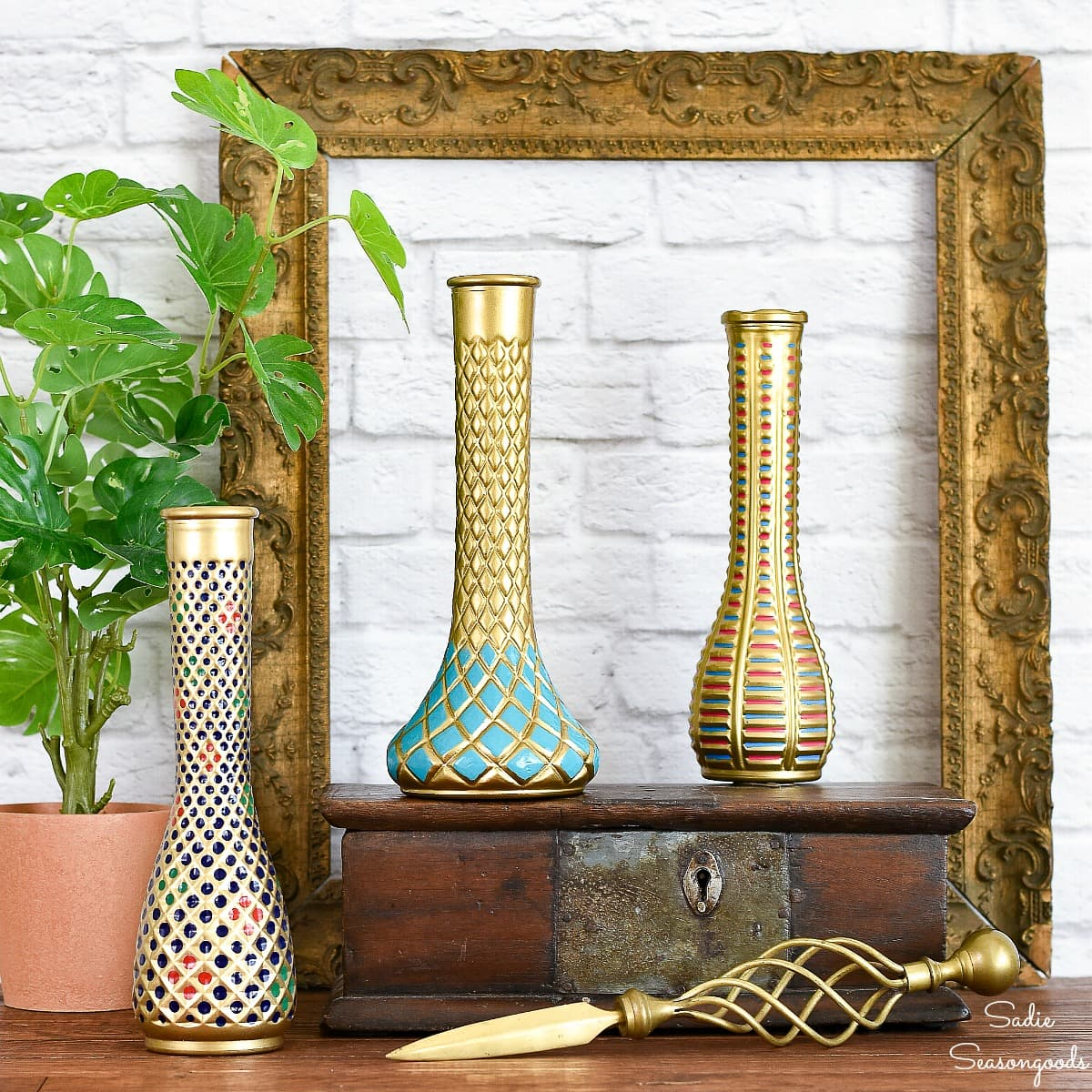 Florist to Cloisonne vase makeovers by Sadie Seasongoods, featured on DIY Salvaged Junk Projects 528 on Funky Junk!