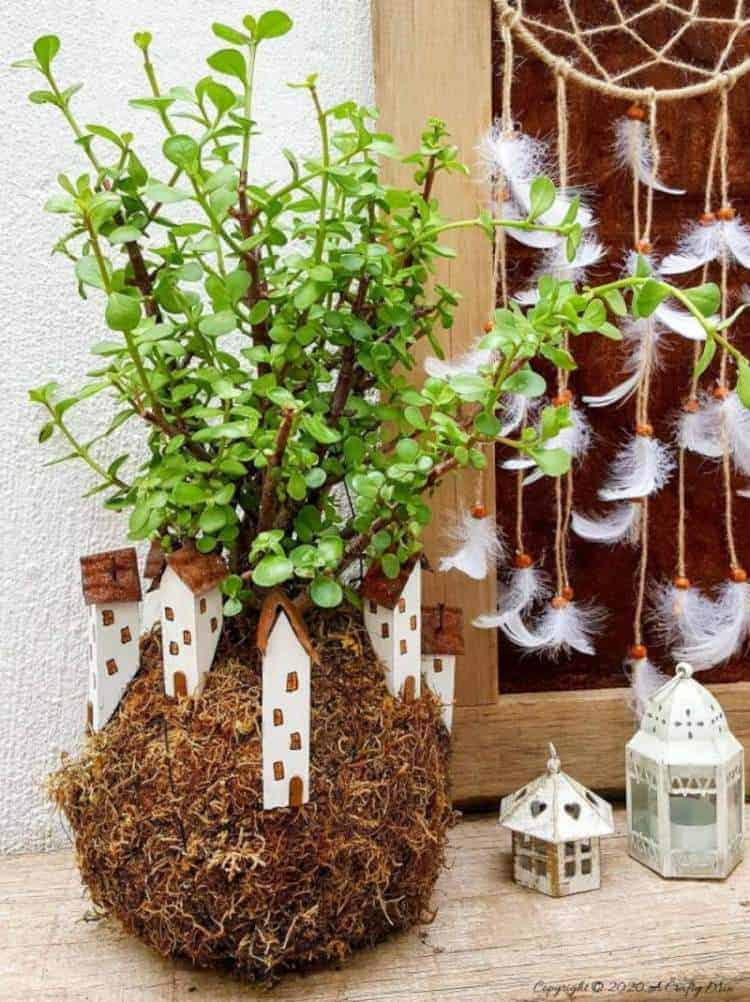 Kokedama Fairy Village plant by A Crafty Mix, featured on DIY Salvaged Junk Projects 529 on Funky Junk!