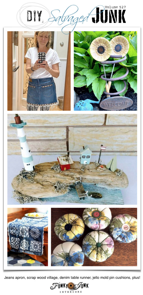 DIY Salvaged Junk Projects 527 - Jeans apron, scrap wood village, denim table runner, jello mold pin cushions, plus! Visit these up-cycled new project tutorials and join in the link party! Click post to visit.