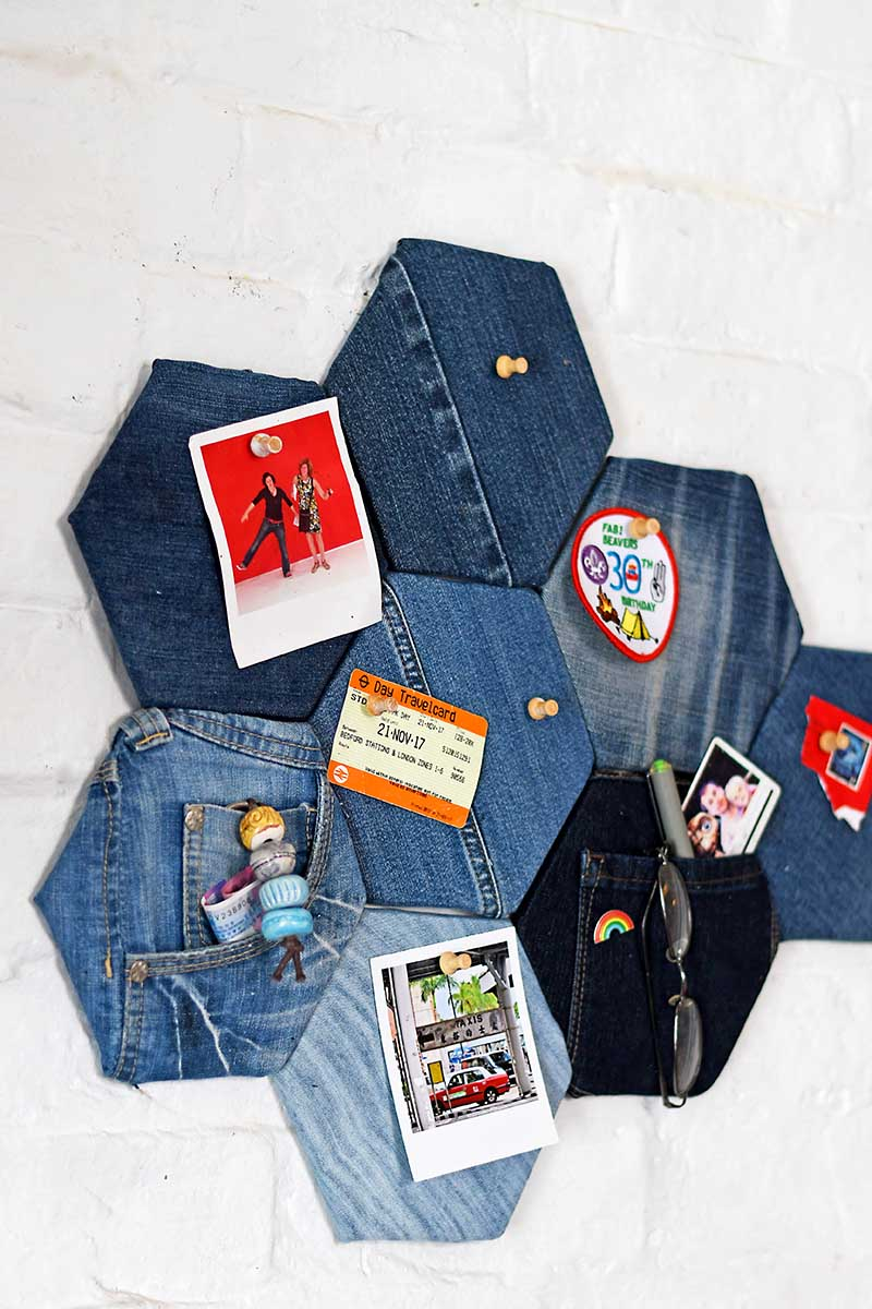 Denim fabric pin board by Pillar Box Blue, featured on DIY Salvaged Junk Projects 529 on Funky Junk!