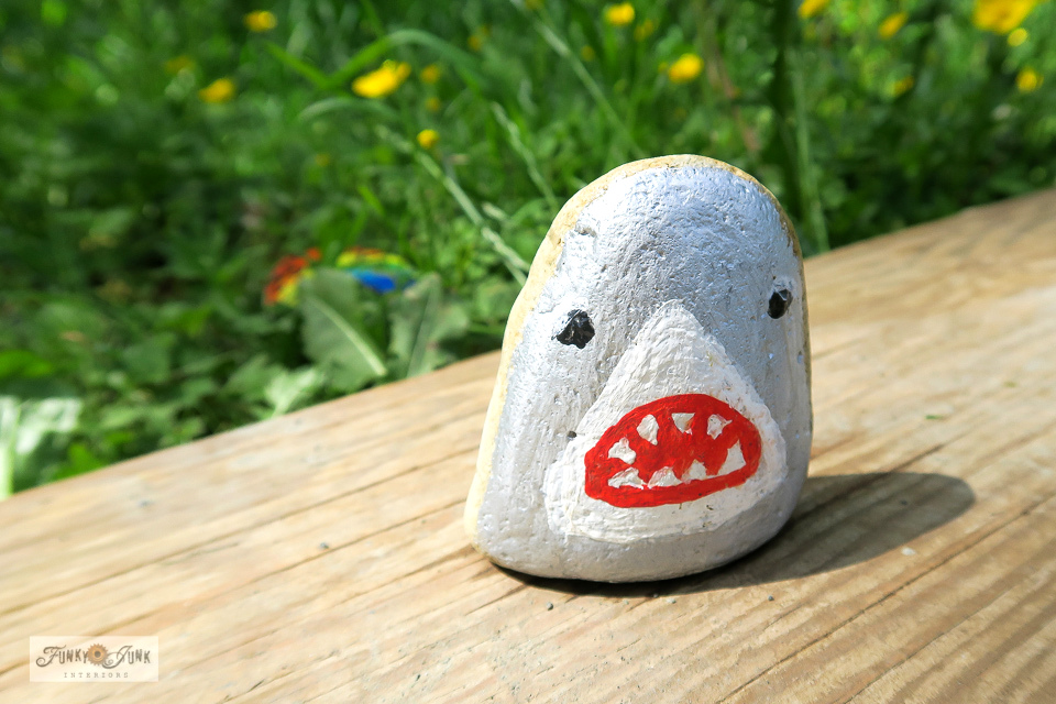 A shark painted rock spotted along the Vedder River Rotary Trail during a bike ride. #paintedrocks #trails #bc #canada