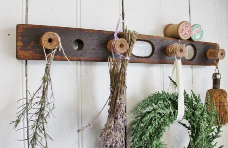 Antique construction level herb hooks by Adirondack Girl At Heart, featured on DIY Salvaged Junk Projects 526 on Funky Junk!