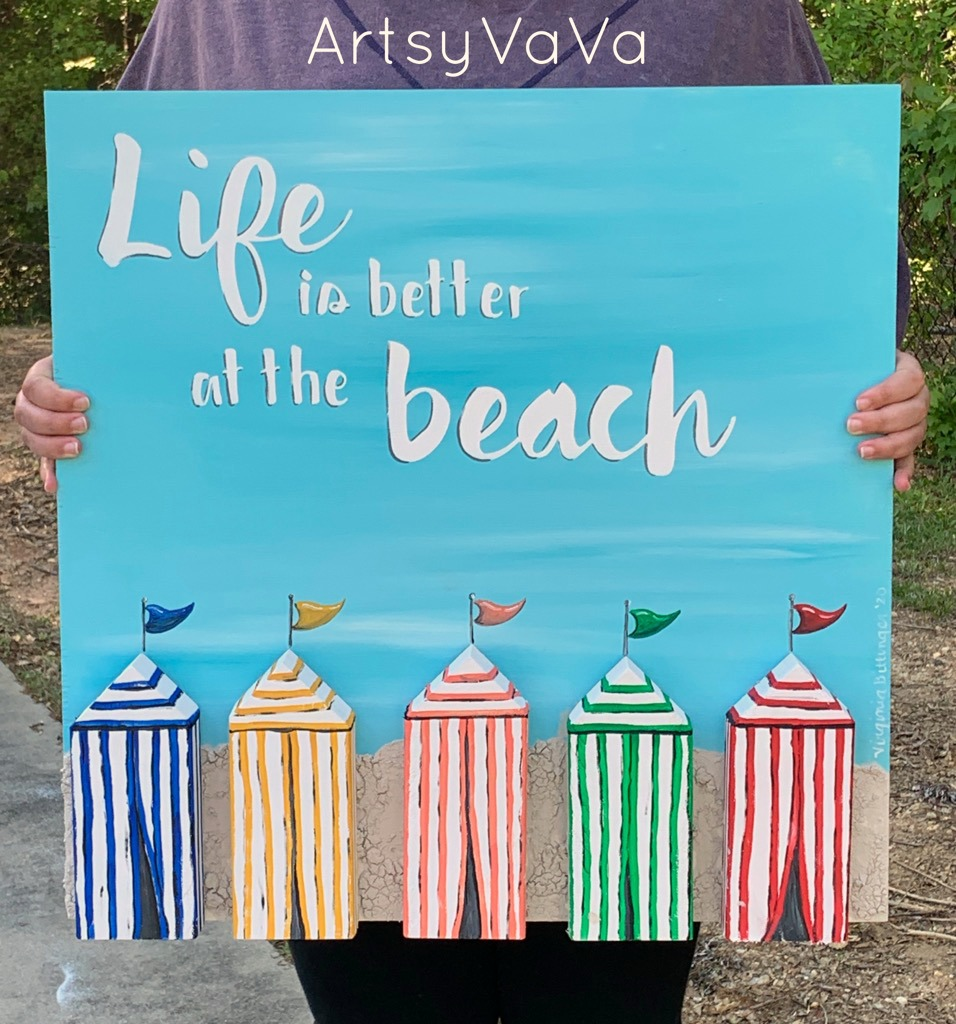 Life is at the Beach painted 3D sign by Artsy Va Va, featured on DIY Salvaged Junk Projects 529 on Funky Junk!