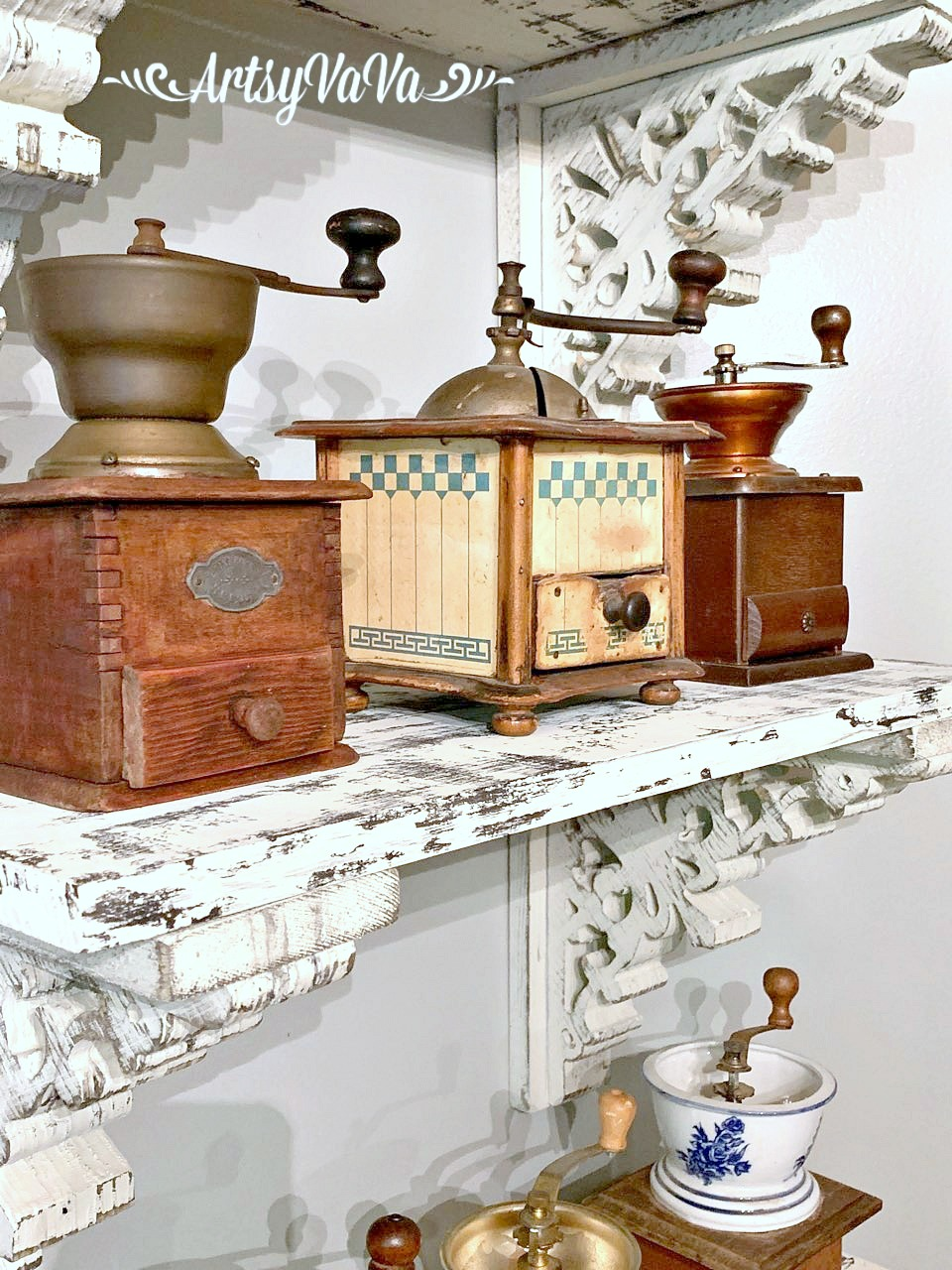 Coffee grinder collection on shelves by Artsy VaVa, featured on DIY Salvaged Junk Projects 528 on Funky Junk!