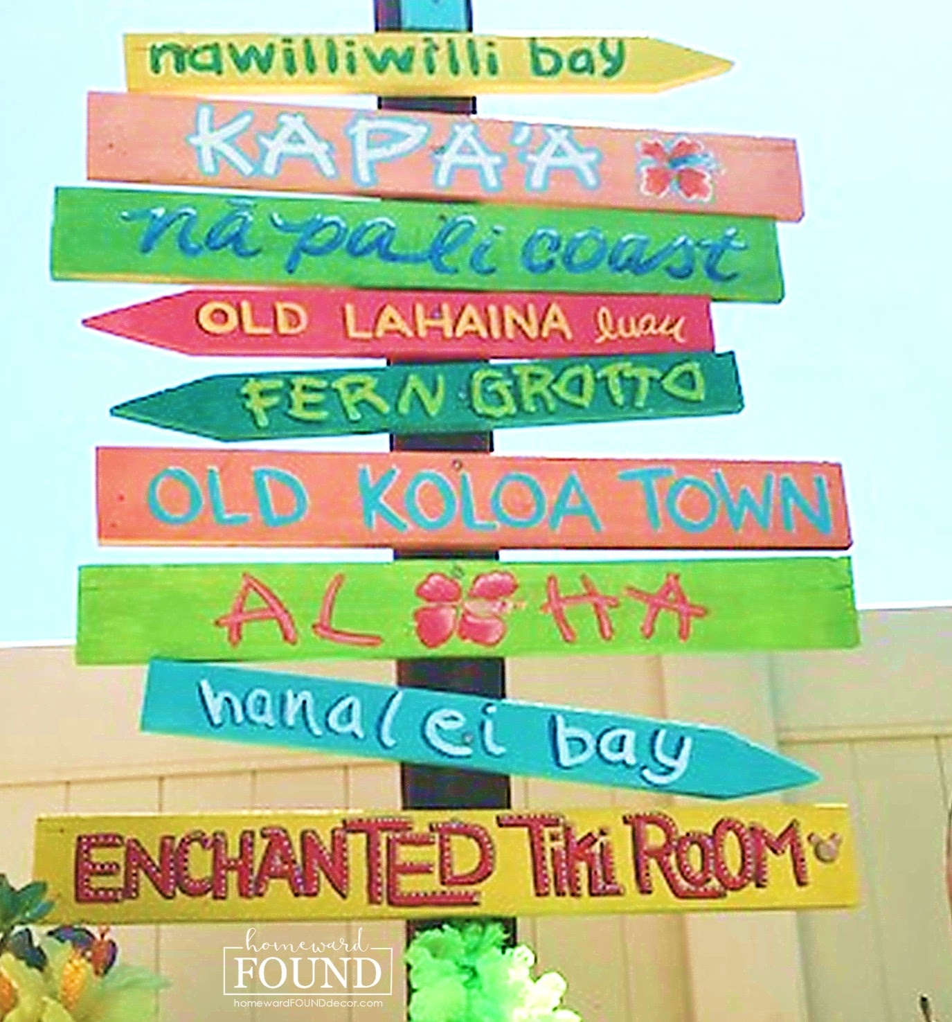 Colourful Hawaiian directional signs by Homeward Found Decor, featured on DIY Salvaged Junk Projects 529 on Funky Junk!