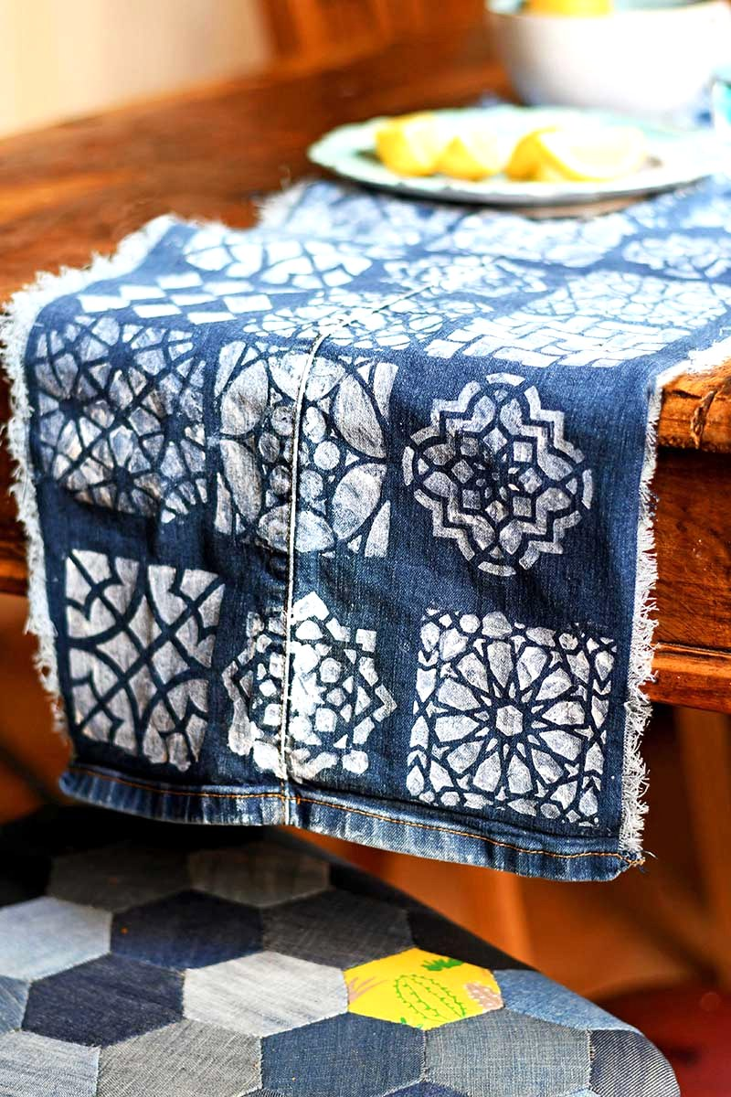 Stenciled denim table runner by Pillar Box Blue, featured on DIY Salvaged Junk Projects 527 on Funky Junk!