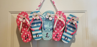 Flip Flop Hello summer sign by Dragonfly Treasure, featured on DIY Salvaged Junk Projects 529 on Funky Junk!