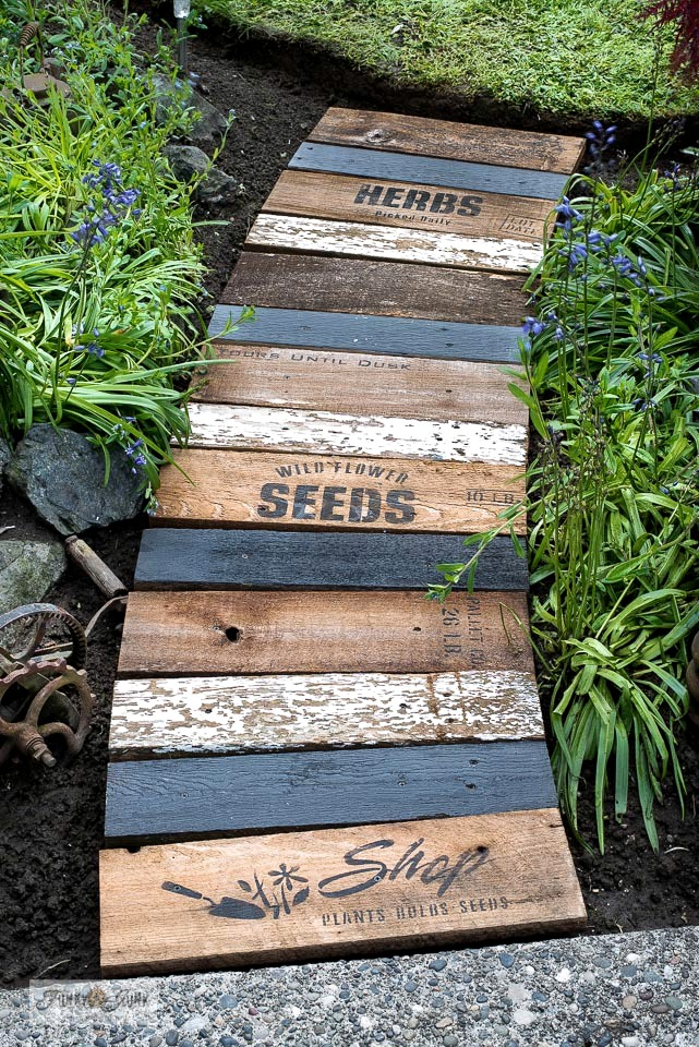 Garden-themed scrap wood stenciled walkway by Funky Junk Interiors