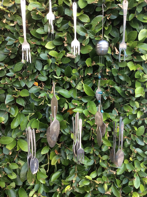 Vintage silverware wind chimes by Fresh Vintage By Lisa S, featured on DIY Salvaged Junk Projects 526 on Funky Junk!