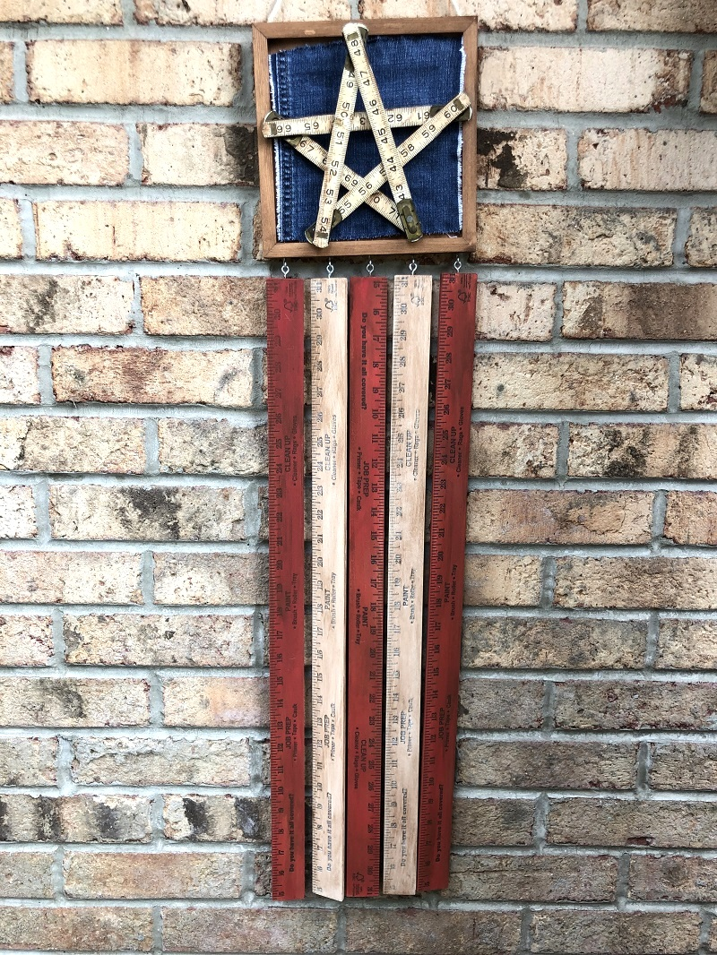 Yardstick American Flag wall art by Creatively Beth, featured on DIY Salvaged Junk Projects 533 on Funky Junk!
