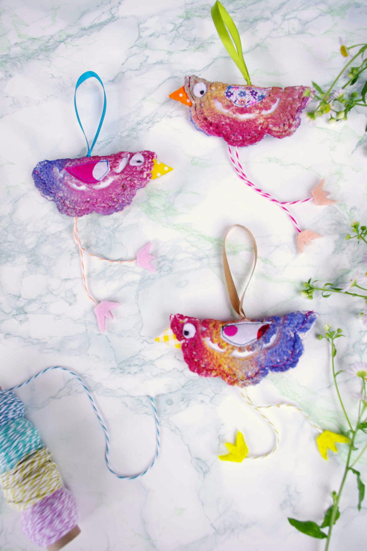 Crocheted doily bird pendants by Idim In Berlin, featured on DIY Salvaged Junk Projects 532 on Funky Junk!