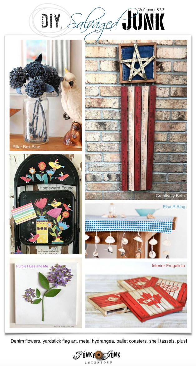 DIY Salvaged Junk Projects 533 - Denim flowers, yardstick flag art, metal hydrangea, pallet coasters, shell tassels, plus! Upcycled projects and link party on Funky Junk! Join in!