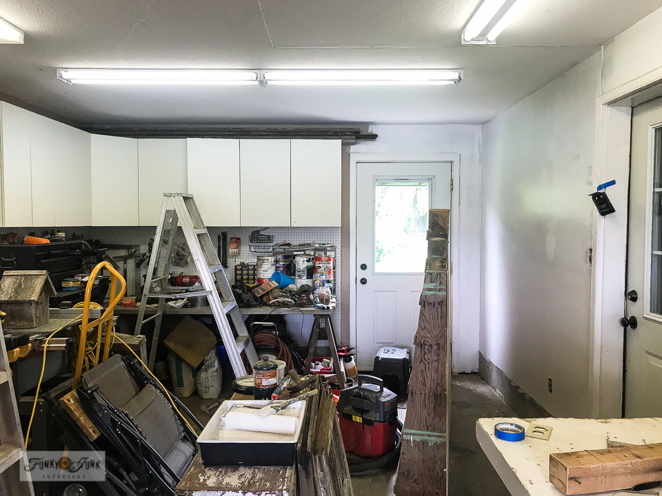 Painting the workshop walls in a bright white really lightens up the space!