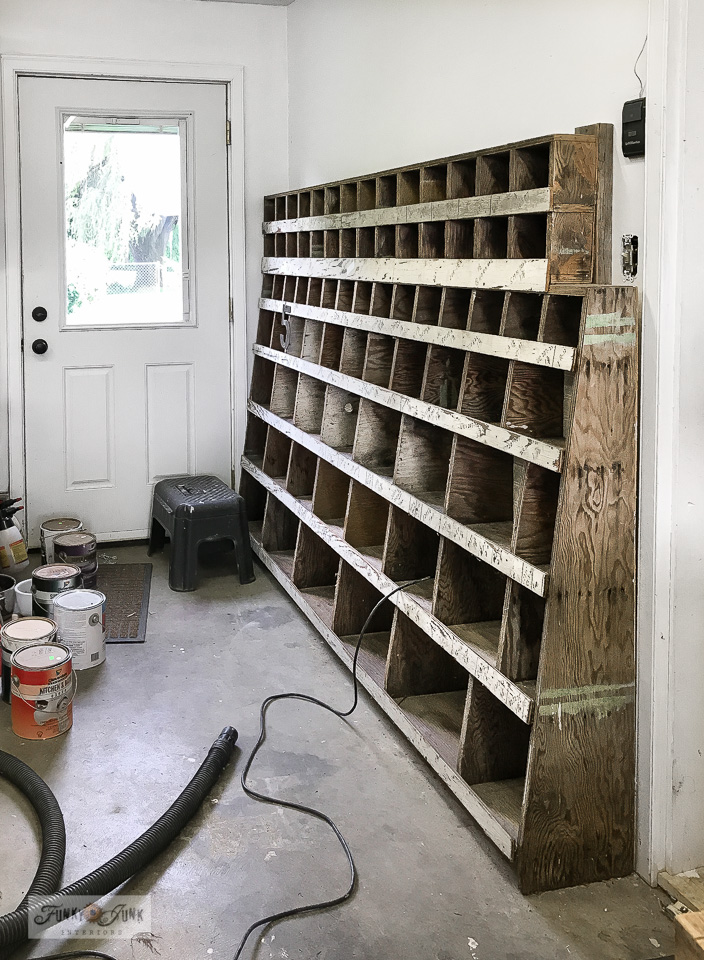 This epic old workshop cubby is about to get a majorly cool overhaul, storing tools and rusty junk! Click to see the after! #workshop #storage #cubby
