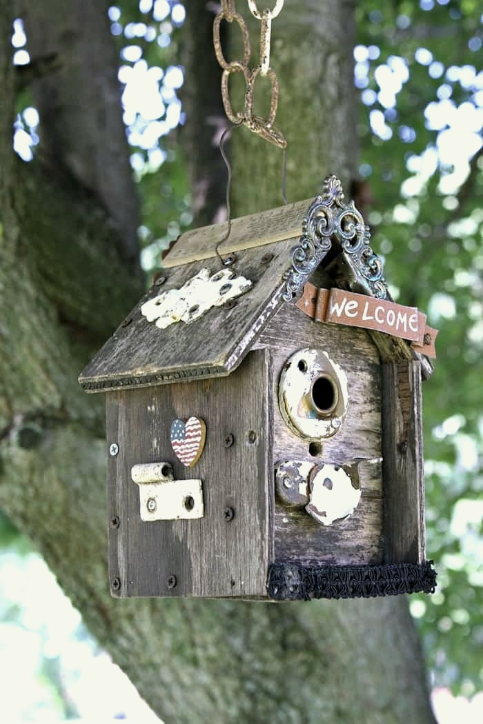 Junk bird house by Petticoat Junktion, featured on DIY Salvaged Junk Projects 532 on Funky Junk!