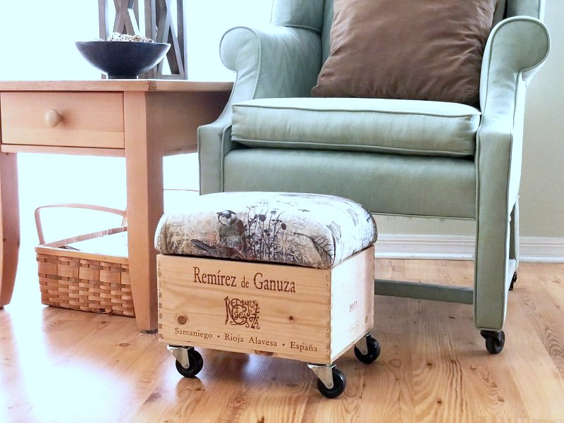Wooden crate storage ottoman by Creatively Beth, featured on DIY Salvaged Junk Projects 531 on Funky Junk!