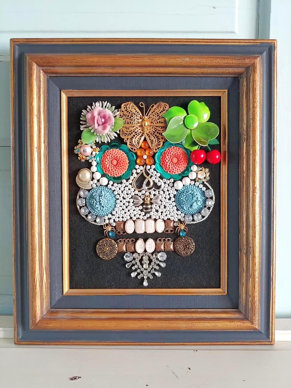 Vintage jewelry skull picture by Little Vintage Cottage, featured on DIY Salvaged Junk Projects 532 on Funky Junk!