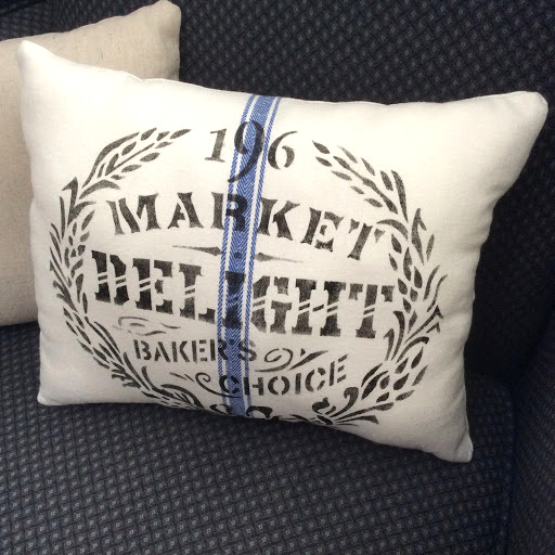 Stenciled kitchen towel grain sack pillows by Fresh Vintage by Lisa S, featured on DIY Salvaged Junk Projects 531 on Funky Junk!