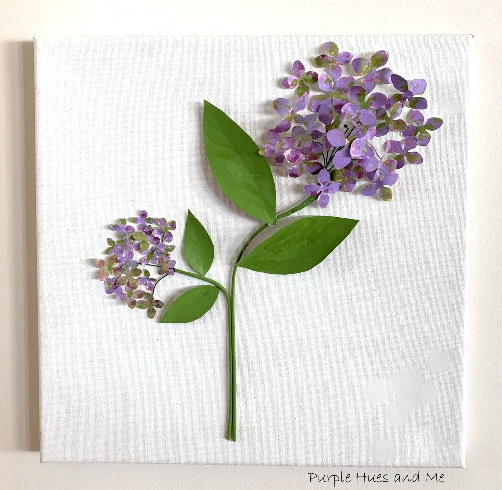 Soda can metal hydrangeas wall art by Purple Hues and Me, featured on DIY Salvaged Junk Projects 533 on Funky Junk!