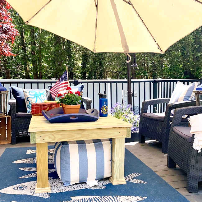 Easy outdoor patio coffee table plans by Homeroad, featured on DIY Salvaged Junk Projects 530 on Funky Junk!