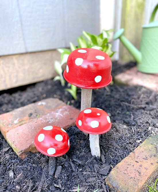 Vintage tin mushroom garden art by Homeroad, featured on DIY Salvaged Junk Projects 530 on Funky Junk!