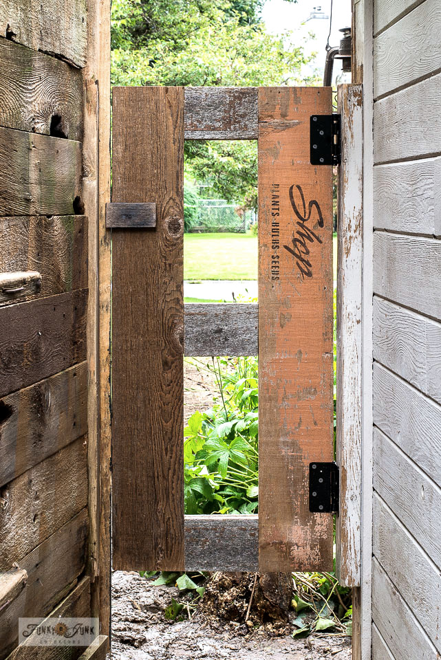 Learn how to build an easy rustic wood garden shed gate with reclaimed fence planks, stenciled with a garden-theme with Funky Junk's Old Sign Stencils. Click for full blog post tutorial including 2 helpful videos! #gardening #gardenshed #gate #reclaimedwood #shed