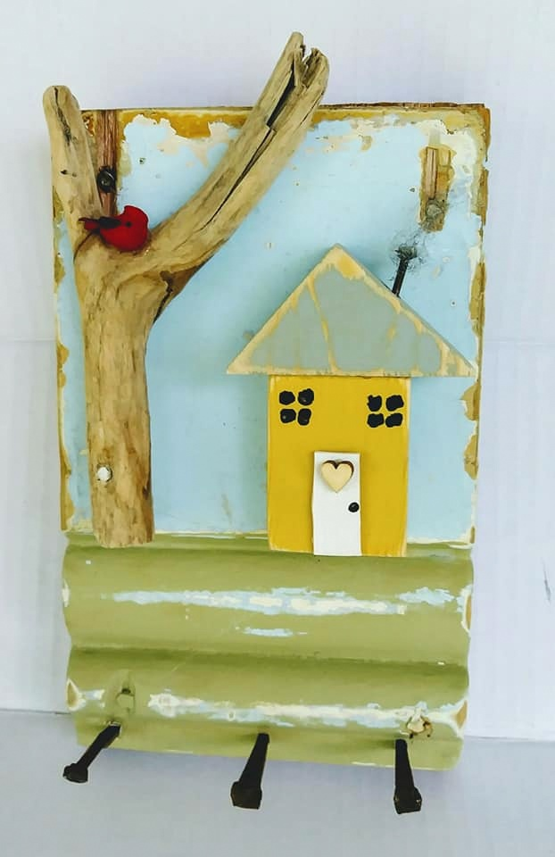 Scrap wood and branch house and tree key holder by Junky Encores on Facebook, featured on DIY Salvaged Junk Projects 530 on Funky Junk!