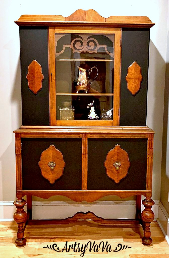 Black and wood repainted cabinet by Artsy VaVa, featured on DIY Salvaged Junk Projects 537 on Funky Junk!