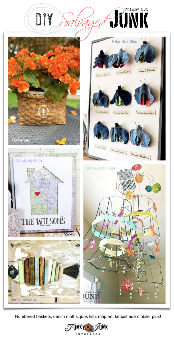 DIY Salvaged Junk Projects 535 - Numbered baskets, denim moths, junk fish, map art, lampshade mobile, plus! Up-cycled projects with a link party on Funky Junk. Join in! #upcycled #diy #salvaged