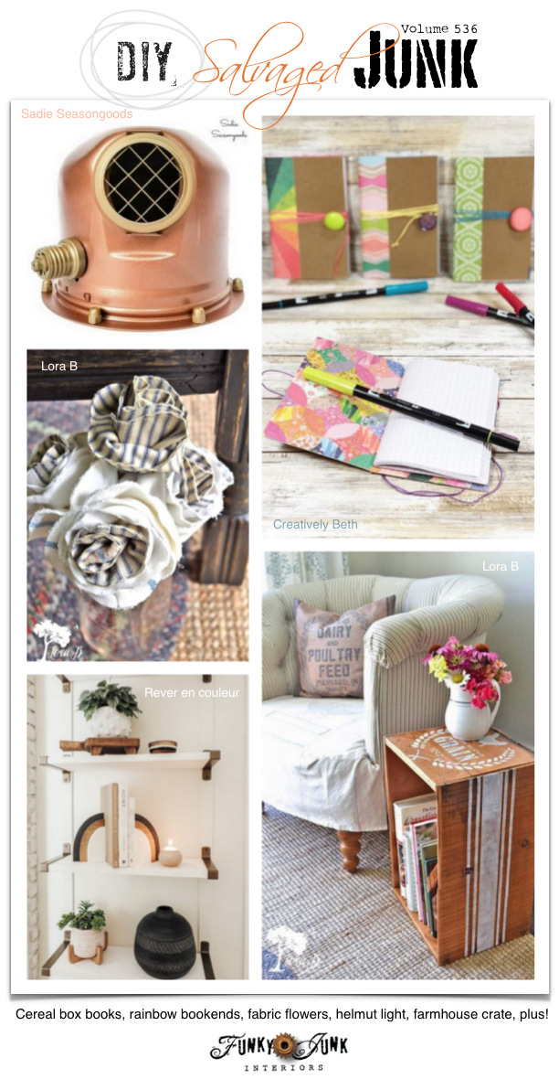Visit 20+ NEW DIY Salvaged Junk Projects 536 - Cereal box books, rainbow bookends, fabric flowers, helmut light, farmhouse crate, plus! Up-cycled projects with link party. Join in! #upcycled #repurposed #diy #projects