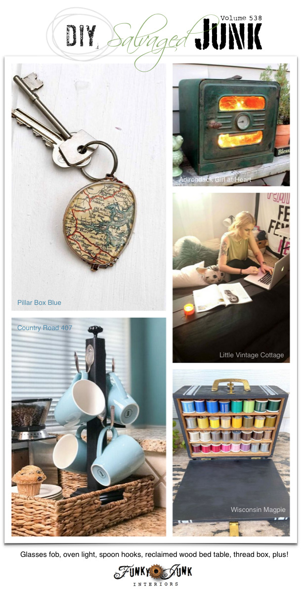 Visit 20+ NEW DIY Salvaged Junk Projects 538 - Glasses fob, oven light, spoon hooks, reclaimed wood bed table, thread box, plus! Up-cycled projects and link party on Funky Junk!