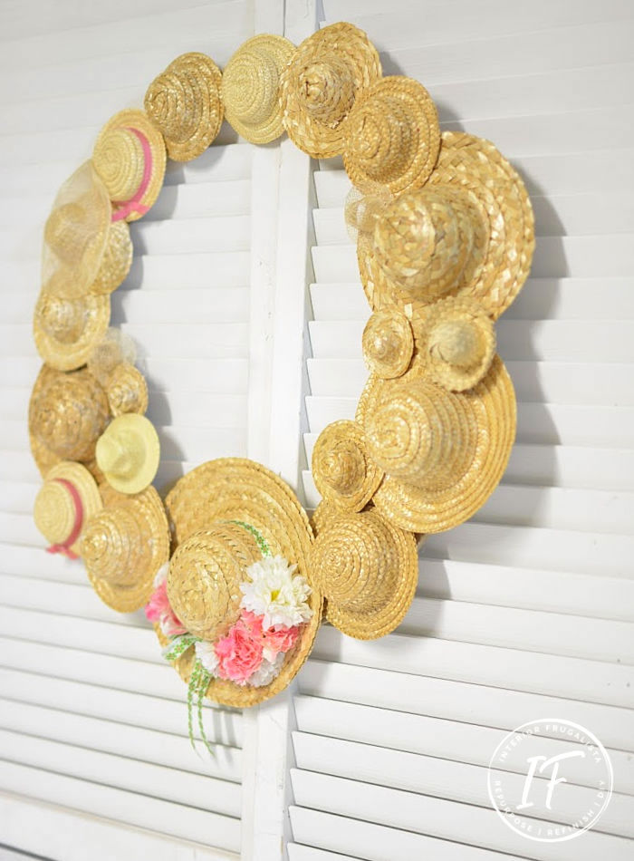 Summer straw hat wreath by Interior Frugalista, featured on DIY Salvaged Junk Projects 537 on Funky Junk!