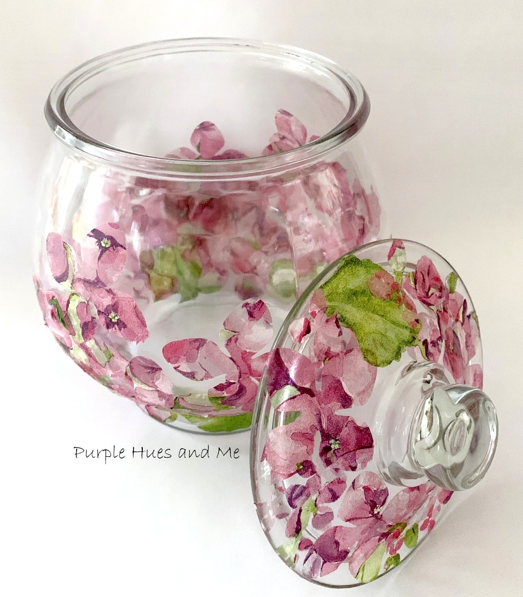 Decoupage napkin flowers on glass jar by Purple Hues and Me, featured on DIY Salvaged Junk Projects 534 on Funky Junk!