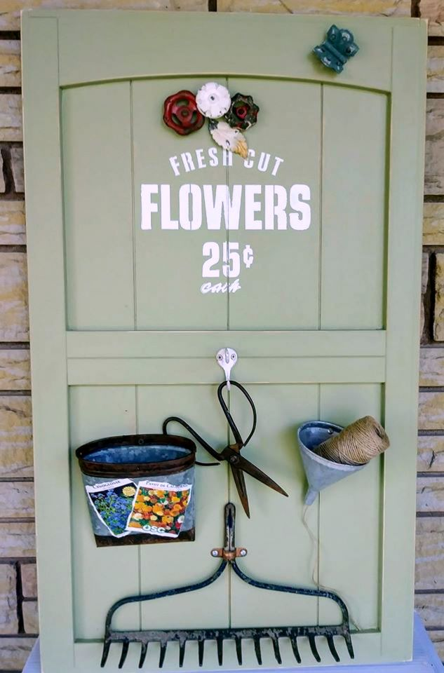 Fresh Flowers garden sign by Junky Encores, featured on DIY Salvaged Junk Projects 536 on Funky Junk!