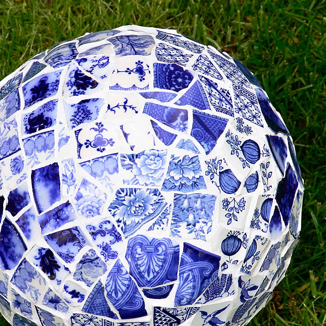 Mosaic bowling ball garden art orb by Selep Imaging, featured on DIY Salvaged Junk Projects 534 on Funky Junk!