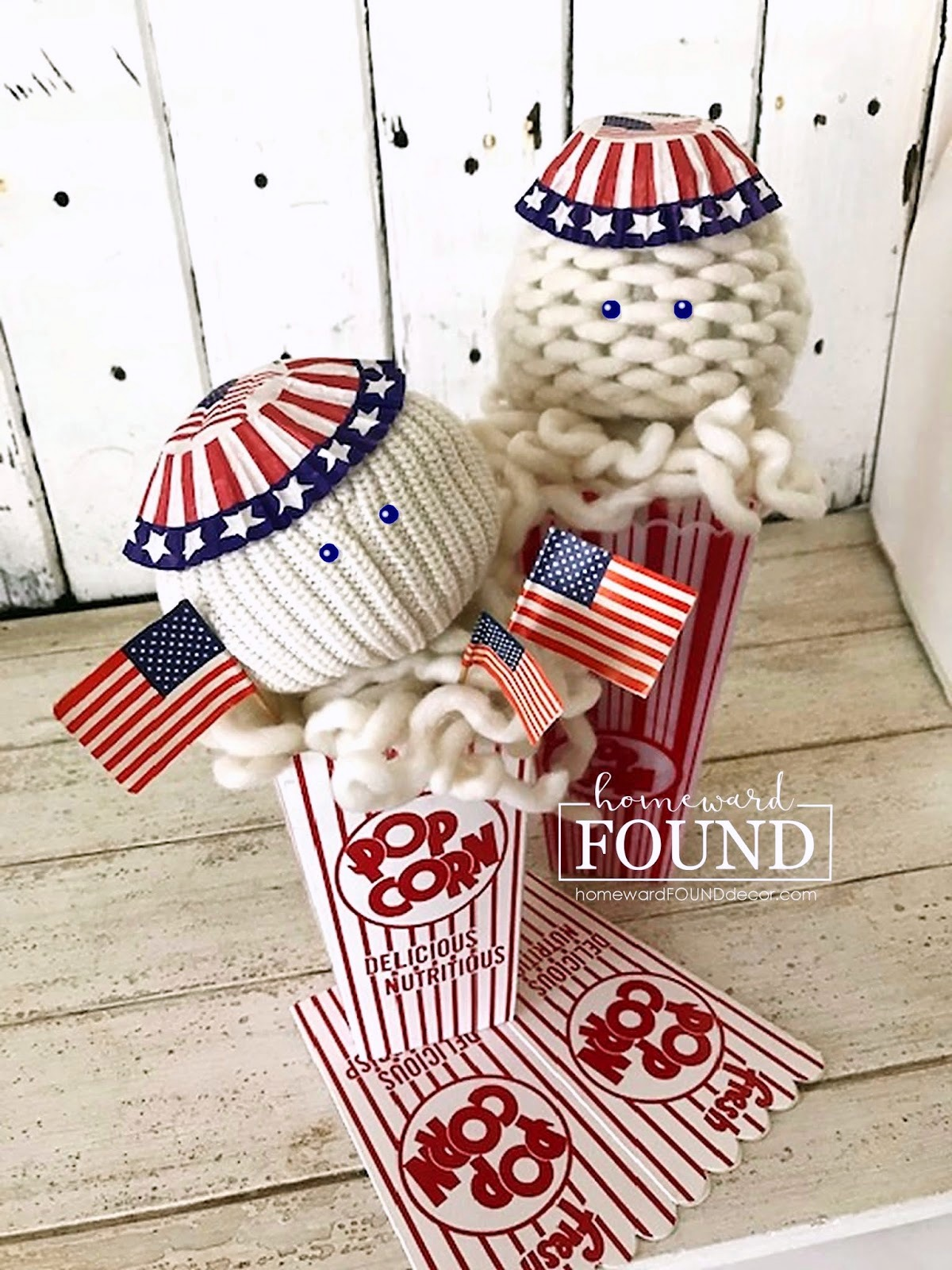 Patriotic Sweater Popcorn by Homeward Found, featured on DIY Salvaged Junk Projects 534 on Funky Junk!